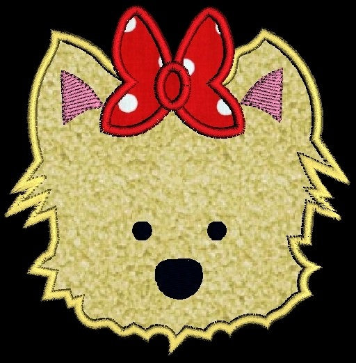 Yorkie Puppy Dog Face with Bow Applique Machine Embroidery Design - Embroidery Designs By AVI