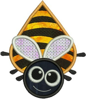 Big Eyed Bee Applique Machine Embroidery Design - Embroidery Designs By AVI