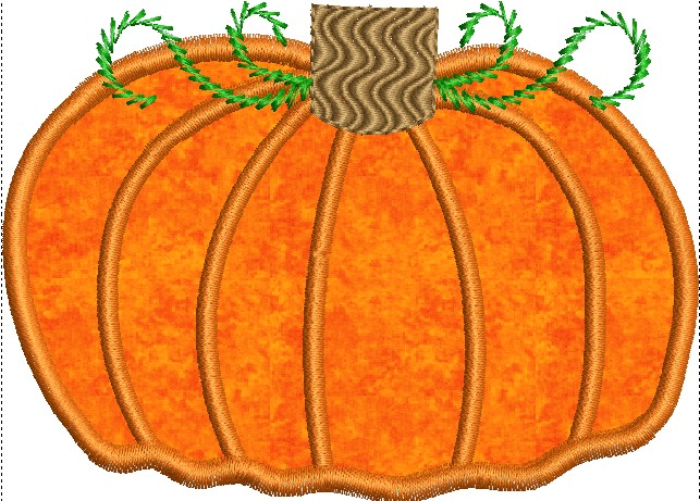 Fall Pumpkin Applique Machine Embroidery Design - Embroidery Designs By AVI