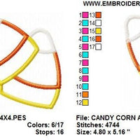 Halloween Candy Corn Applique Machine Embroidery Design - Embroidery Designs By AVI