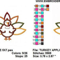 Cute Turkey Applique Machine Embroidery Design - Embroidery Designs By AVI