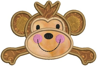 Zoo Baby Monkey Applique Machine Embroidery Design - Embroidery Designs By AVI