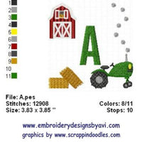 Farm Tractor Machine Embroidery Monogram Boy Fonts Designs Set - Embroidery Designs By AVI