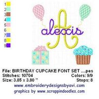 Birthday Cupcake Present Balloons Machine Embroidery Monogram Fonts Design Set - Embroidery Designs By AVI