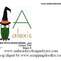 Halloween Witch Frog Machine Embroidery Monogram Fonts Designs Set - Embroidery Designs By AVI