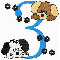 Birthday Numbers Puppy Dogs Machine Embroidery Designs Set - Embroidery Designs By AVI