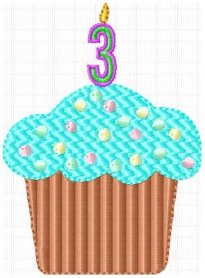 Birthday Cupcake with Candle Numbers Machine Embroidery Designs Set - Embroidery Designs By AVI