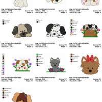 Cute Puppy Dogs Animals Machine Embroidery Designs Set of 10 - Embroidery Designs By AVI