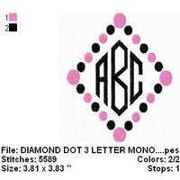 Diamond Polka Dot Machine Embroidery Monogram Fonts Design Set - Embroidery Designs By AVI
