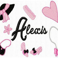 Girl Things Machine Embroidery Monogram Fonts Designs Set - Embroidery Designs By AVI