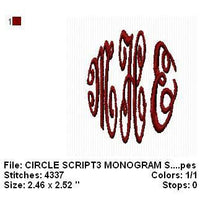 Circle Script 3 Letter Machine Embroidery Monogram Fonts Designs embroidery designs cd,embroidery designs usb Sale - Embroidery Designs By AVI