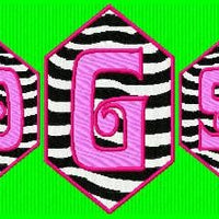 Zebra Stripes Monogram Machine Embroidery Fonts Design Set - Embroidery Designs By AVI