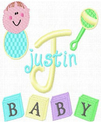 Baby Boy Monogram Fonts and Machine Embroidery Designs Set - Embroidery Designs By AVI
