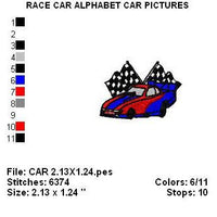 Boys Race Car Monogram Fonts Machine Embroidery Design Set - Embroidery Designs By AVI