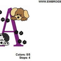 Puppy Dogs Monogram Fonts Machine Embroidery Designs Set - Embroidery Designs By AVI