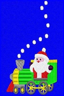 Christmas Santa Train Single Machine Embroidery Design - Embroidery Designs By AVI