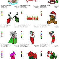Christmas Mix Candy Cane Present Stocking Bear Lights Machine Embroidery Designs - Set of 14 Instant Download Sale - Embroidery Designs By AVI