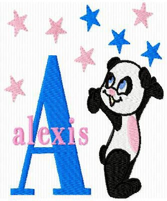 Panda Bear and Stars Machine Embroidery Monogram Fonts Designs Set - Embroidery Designs By AVI