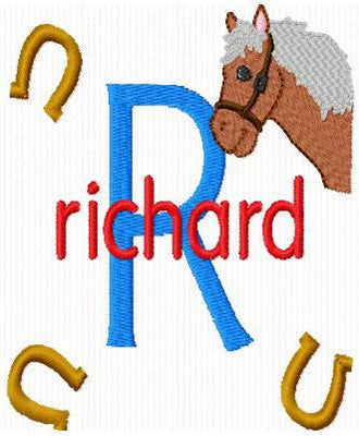 Horse Pony and Horseshoes Machine Embroidery Monogram Fonts Designs Set - Embroidery Designs By AVI