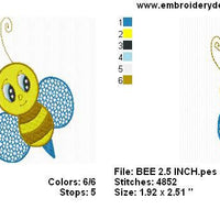 Cute Bee Machine Embroidery Design Instant Download Sale - Embroidery Designs By AVI