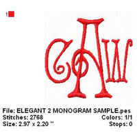 Elegant Three 3 letter Machine Embroidery Monogram Fonts Designs Set - Embroidery Designs By AVI
