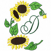 Sun Flower Sunflower Machine Embroidery Monogram Fonts Designs Set - Embroidery Designs By AVI