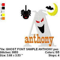 Halloween Ghost Spider Moon Bat Machine Embroidery Monogram Fonts Designs Set - Embroidery Designs By AVI