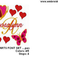 Valentines Butterfly Butterflies Heart Machine Embroidery Alphabet Monogram Fonts Set - Embroidery Designs By AVI
