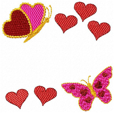 Valentines Butterfly Butterflies Hearts Machine Embroidery Font Frame Design - Embroidery Designs By AVI