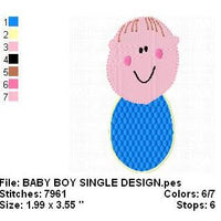 Baby Boy with Bib Machine Embroidery Design - Embroidery Designs By AVI