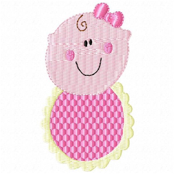 Baby Girl with Bib and Bow Machine Embroidery Design - Embroidery Designs By AVI