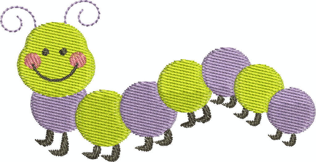 Cute Caterpillar Catepillar Bug Filled Machine Embroidery Design - Embroidery Designs By AVI