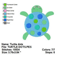 Cute Turtle with dots Machine Embroidery Design - Embroidery Designs By AVI