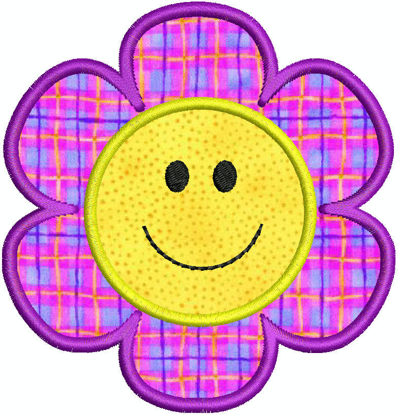 Smiley Face Flower Applique Machine Embroidery Design - Embroidery Designs By AVI