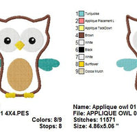 Owl Applique Machine Embroidery Design - Embroidery Designs By AVI