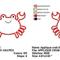 Cute Crab Applique Machine Embroidery Design - Embroidery Designs By AVI