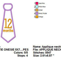 Baby Monthly Numbers Neck Tie Applique Machine Embroidery Designs - Embroidery Designs By AVI