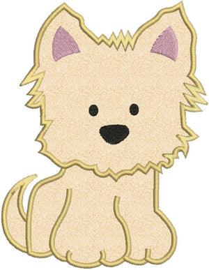 Yorkie Puppy Dog Applique Machine Embroidery Design - Embroidery Designs By AVI
