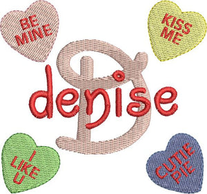 Valentines Candy Hearts Machine Embroidery Alphabet Monogram Fonts Designs Set - Embroidery Designs By AVI