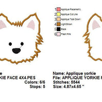 Yorkie Puppy Dog Face Applique Machine Embroidery Design - Embroidery Designs By AVI