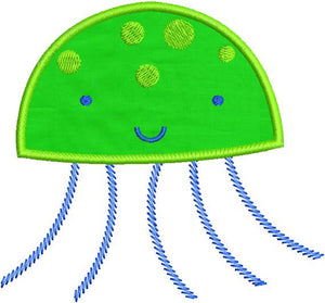 Applique Jellyfish Jelly Fish 01 Machine Embroidery Design - Embroidery Designs By AVI