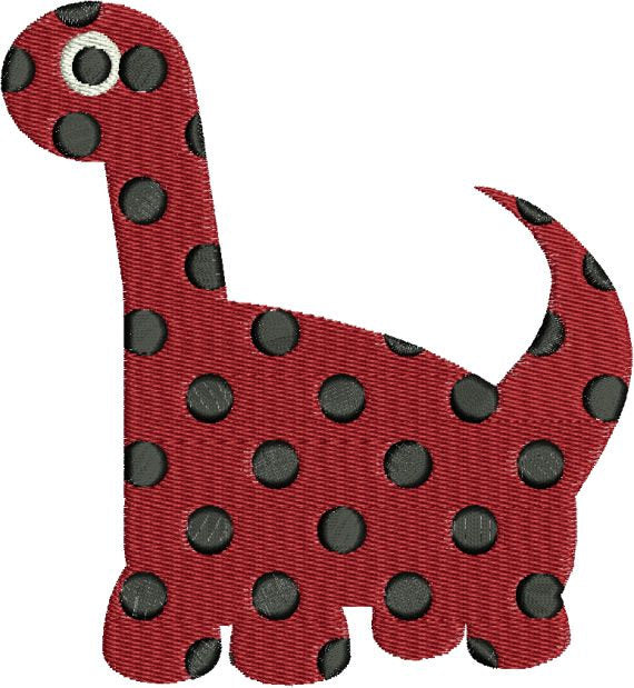 Dinosaur with Polka Dots polkadots Machine Embroidery Designs 4x4 & 5x7 Instant Download Sale - Embroidery Designs By AVI