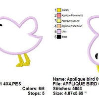 Baby Bird Applique Machine Embroidery Design - Embroidery Designs By AVI