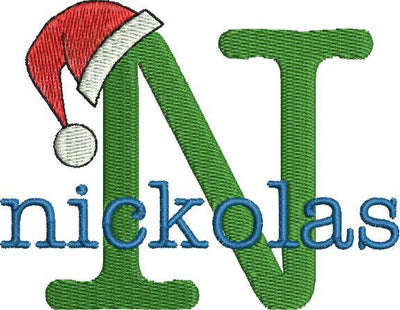 Christmas Santa Claus Hat Machine Embroidery Monogram Fonts Design Set - Embroidery Designs By AVI