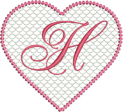 Valentines Lace Heart Machine Embroidery Alphabet Monogram Fonts Designs Set - Embroidery Designs By AVI
