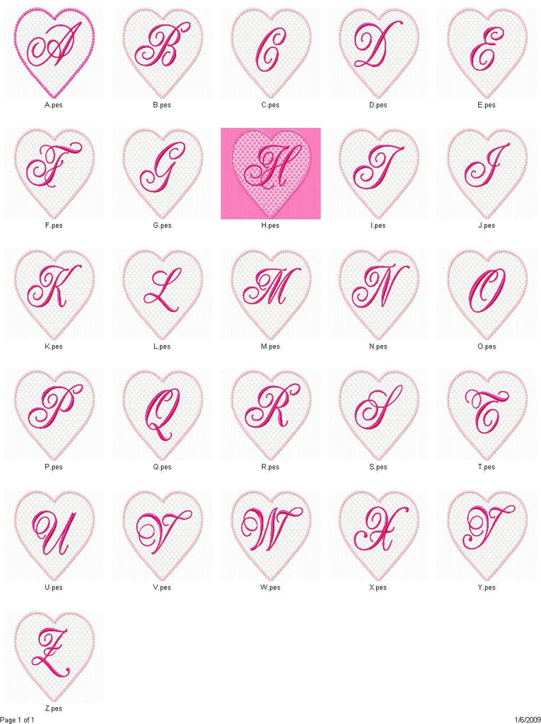 Valentines Lace Heart Machine Embroidery Alphabet Monogram Fonts Desig Embroidery Designs By Avi