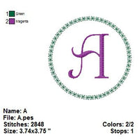 Circle Floral Monogram Font Machine Embroidery Design Set - Embroidery Designs By AVI