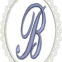 Lacey Oval Monogram Fonts Machine Embroidery Designs Set - Embroidery Designs By AVI
