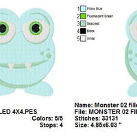 Cute Little Monster II Filled Machine Embroidery Design - Embroidery Designs By AVI