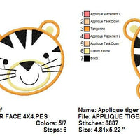 Zoo Baby Tiger Face Applique Machine Embroidery Design - Embroidery Designs By AVI